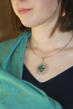 Modern: sterling silver w/abalone: multiple colors in blue green